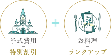 挙式費用特別割引+お料理ランクアップ