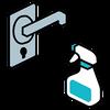 不特定多数の方が触れる可能性のある箇所は、定期的な清掃・消毒をおこなっています。