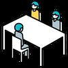 ご宴席において流しレイアウトをご希望の場合には、お客様同士の対面着席を防止するため、互い違いに向き合える着席をご提案しています。