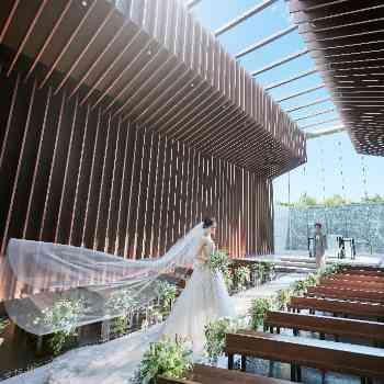 青空から降り注ぐ光が花嫁を輝かす