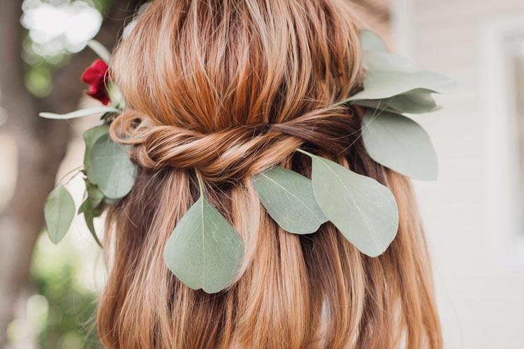 ヘアアクセサリー:グリーン ナチュラル 草花