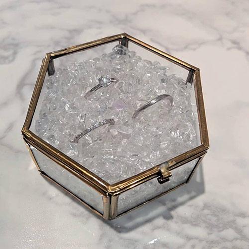 リングピロー ガラスケース×水晶